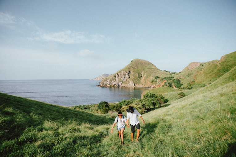 A couple holding hands walking up a scenic hill