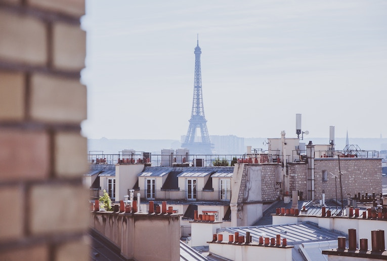 A view of the Eiffel Tower from a French roof top