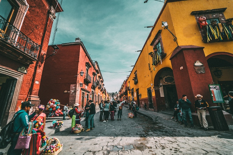 View of a colorful street in Mexico