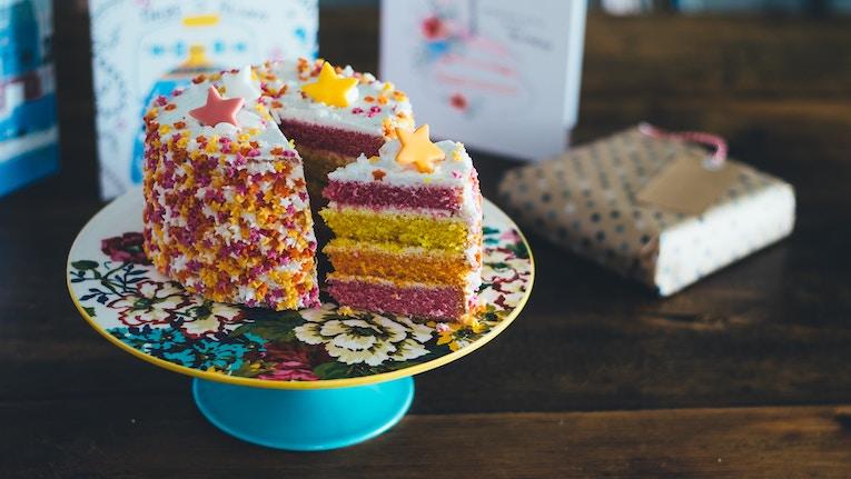 Elaborate cake on a platter