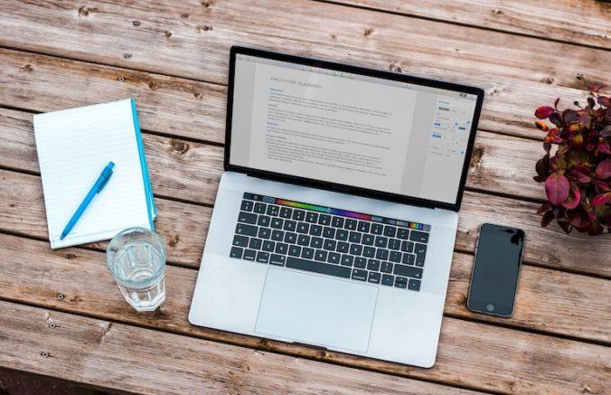Laptop open on tabletop