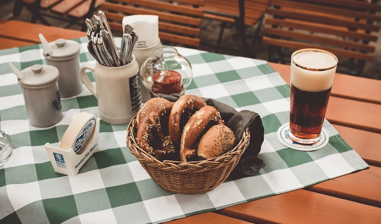 pretzels and beer on a table in Germany