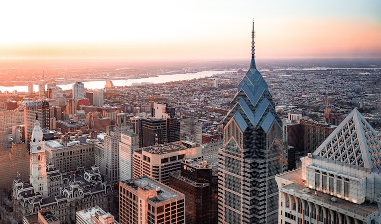 a view of the skyline in philadelphia, pennsylvania