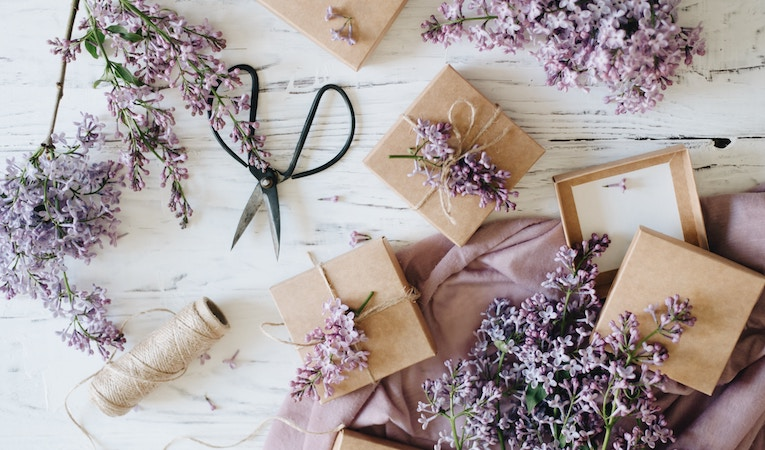 gift boxes surrounded by lavender
