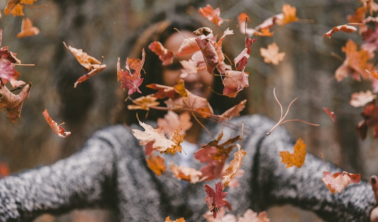 person throwing leaves into the air
