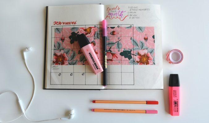 calendar notebook on a desk top