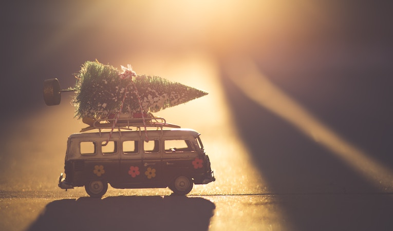 toy van with a christmas tree on top