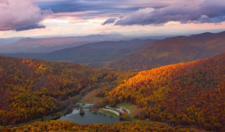 sharp top mountain, united states at autumn