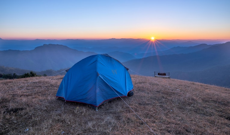 tent on a mountain peak