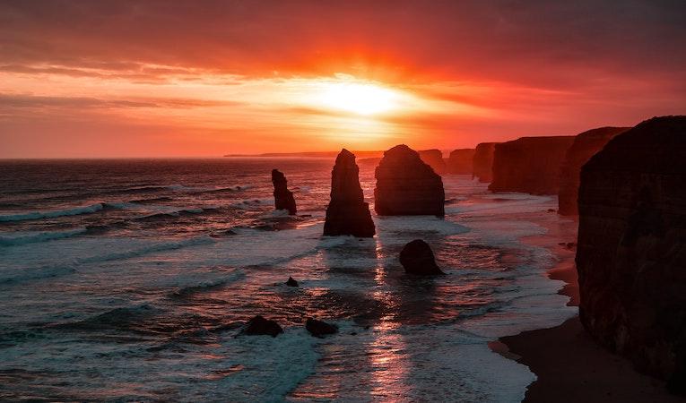 twelve apostles in australia at golden hour